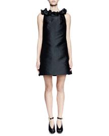 Sleeveless Ruffle-Neck Satin Shift Dress, Black