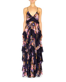 Floral-Print Spaghetti-Strap Maxi Dress, Black