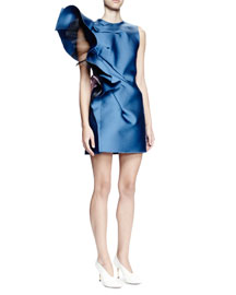 Sleeveless Structured-Ruffle Mini Dress, Pristine Blue