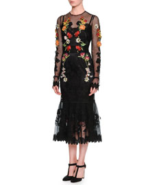 Long-Sleeve Floral-Embroidered Peplum Dress, Black