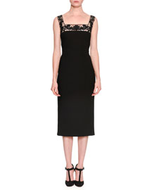Sleeveless Square-Neck Guipure Lace Dress, Black