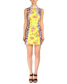 Sleeveless Floral-Print Collared Dress, Yellow