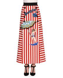 Striped Stretch-Cotton Portofino Midi Skirt, Red