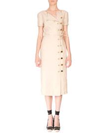 Short-Sleeve Linen Button Dress, Straw