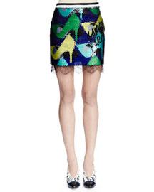 Sequined Shoe-Print Mini Skirt, Ink