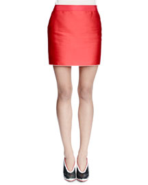 Duchess Satin Mini Skirt, Red
