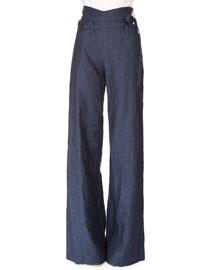 Perry Linen Tie-Waist Wide-Leg Pants, Navy