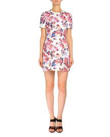 Short-Sleeve Rose-Print Shift Dress, White
