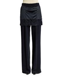 Lace-Trimmed Skirt Pants, Black