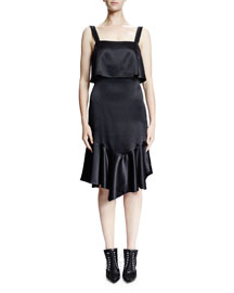Sleeveless Open-Back Ruffled Satin Dress, Black