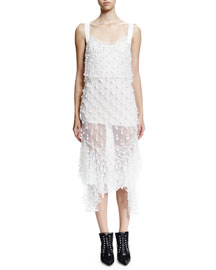 Pearly-Embellished Sleeveless Cocktail Dress, White