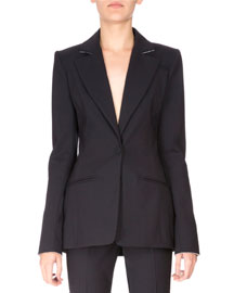 Wool One-Button Eyelet-Trim Blazer, Navy