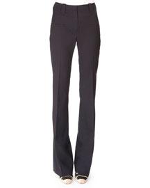 Wool Flare-Leg Pants, Navy