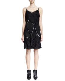 Sleeveless Embellished Cage Sheath Dress, Black
