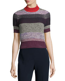 Multi-Knit Mock-Neck Striped Sweater, Multi