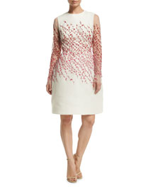 Long-Sleeve Beaded Vine Illusion Dress, White/Multi