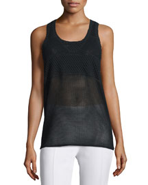 Scoop-Neck Mesh Tank Top, Black