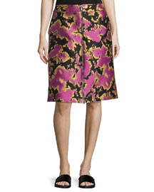 Zip-Front Abstract Jacquard Skirt, Pink/Black/Gold