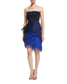 Strapless Tiered Cocktail Dress with Beading, Noir/Cobalt