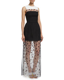 Layered Gown w/Beaded Tulle Underlay, Black (Noir)