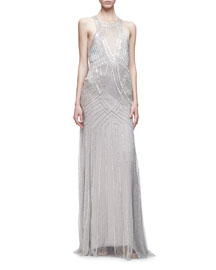 Sleeveless Embellished Trumpet Gown, Silver