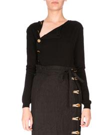 Asymmetric Button-Down Wool Sweater, Black