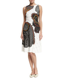 Sleeveless Stitch-Contrast Crepe Dress, White (Bianco)