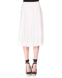 Pleated Crepe de Chine Midi Skirt, Optic White