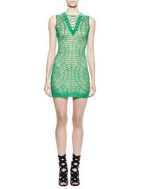 Sleeveless Half-Moon Fan-Print Knit Dress, Green