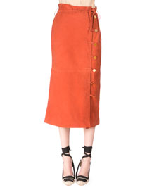 Looped-Button Leather Midi Skirt, Windsor