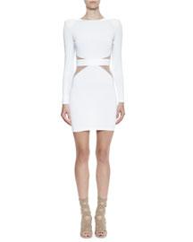 Long-Sleeve Sheer-Trim Dress, White