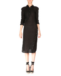 Asymmetric-Button Crinkled Linen Shirtdress, Black