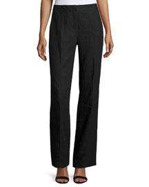 Wide-Leg Linen Pants, Black