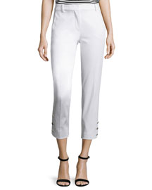 Cropped Sateen Ankle Pants, White
