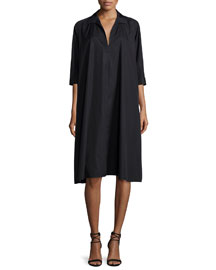 Voluminous 3/4-Sleeve Shirtdress, Black