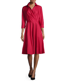 3-4-Sleeve Wrap-Front A-Line Shirtdress, Red