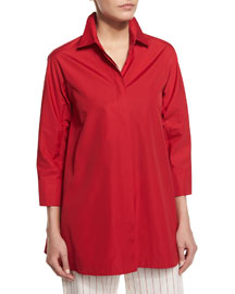 3/4-Sleeve Side-Slit Cotton Blouse, Red