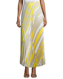 Accordion-Pleated Crepe de Chine Skirt