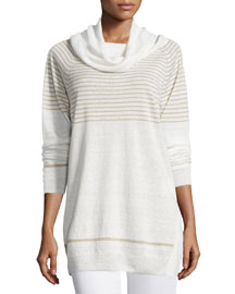 Striped Linen Cowl-Neck Sweater, Sand