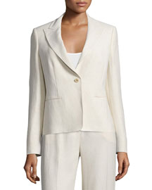 One-Button Slim-Fit Jacket, Sand