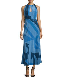 Anchor-Print Silk Halter Dress, China Blue