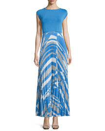 Scoop-Back Accordion-Pleated Combo Maxi Dress