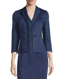 3/4-Sleeve Sateen Two-Button Jacket, Navy