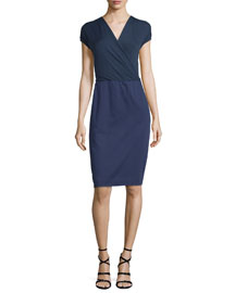 Short-Sleeve Surplice Sateen Combo Dress, Navy