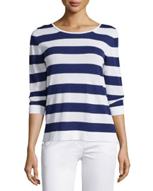 Striped 3/4-Sleeve Scoop-Back Top, China Blue