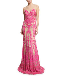 Sleeveless Beaded Lace Illusion Gown, Nude/Pink