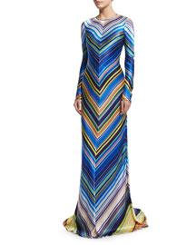 Long-Sleeve Chevron-Striped Silk Gown, Blue/Multi