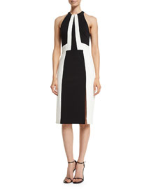 Sleeveless Racer-Fit Colorblock Dress, Black/White