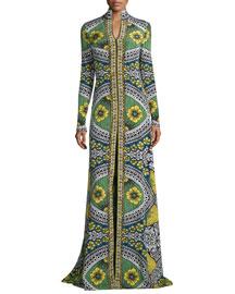 Long-Sleeve Mixed-Print Gown, Celedon