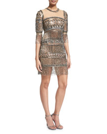 3/4-Sleeve Embroidered Fringe Cocktail Dress, Gunmetal